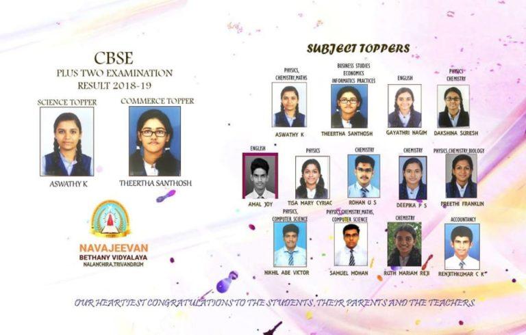 100% Result for CBSE STD XII board examination 2019